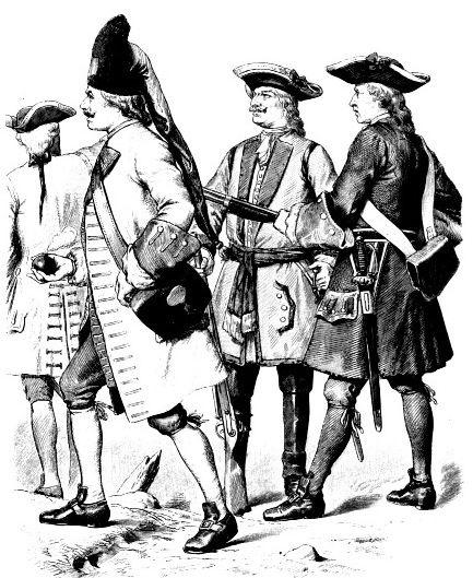Немецкие солдаты, первая половина 18 века