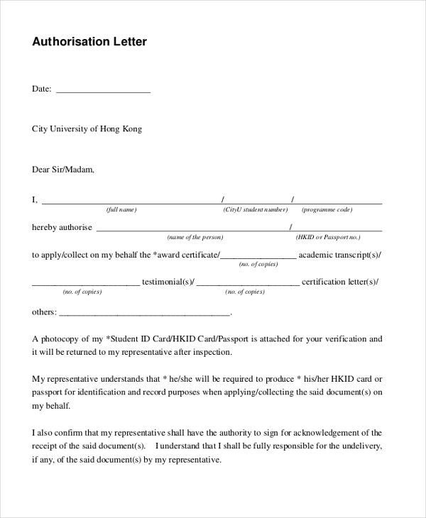 Sample Letter Authorization Form Free Documents Pdf  Home Design