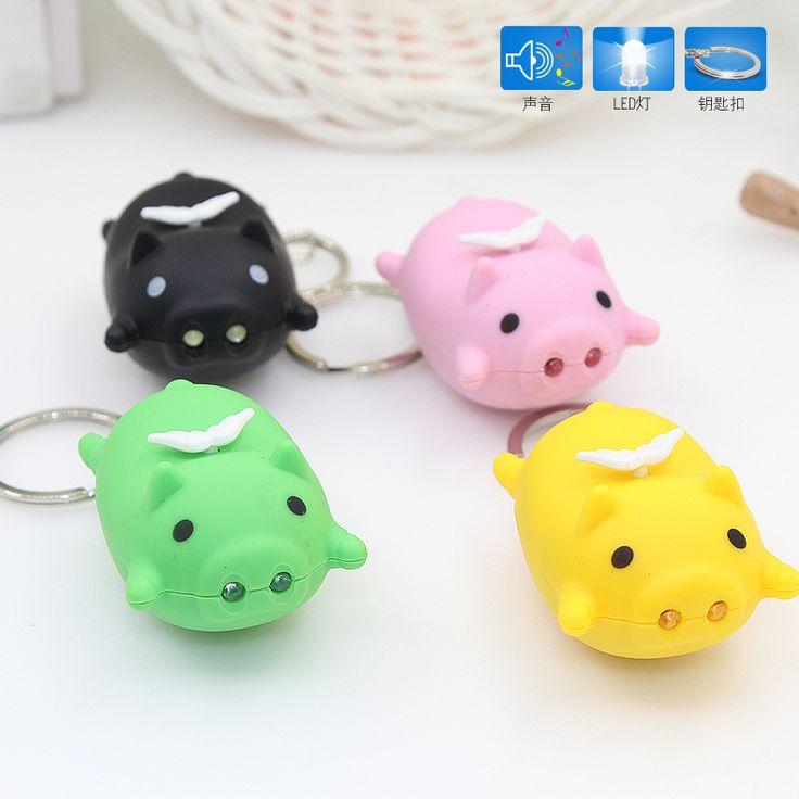 Cartoon Little Flying Pig Design LED Keychain with Sound Flashlight Kid Emergency torch Animal pig Keyring car keyringWholesale //Price: $2.95 & FREE Shipping //     #hashtag2