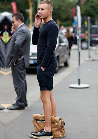ネイビーショーツ×丸首セーターの着こなし(メンズ) | Italy Web