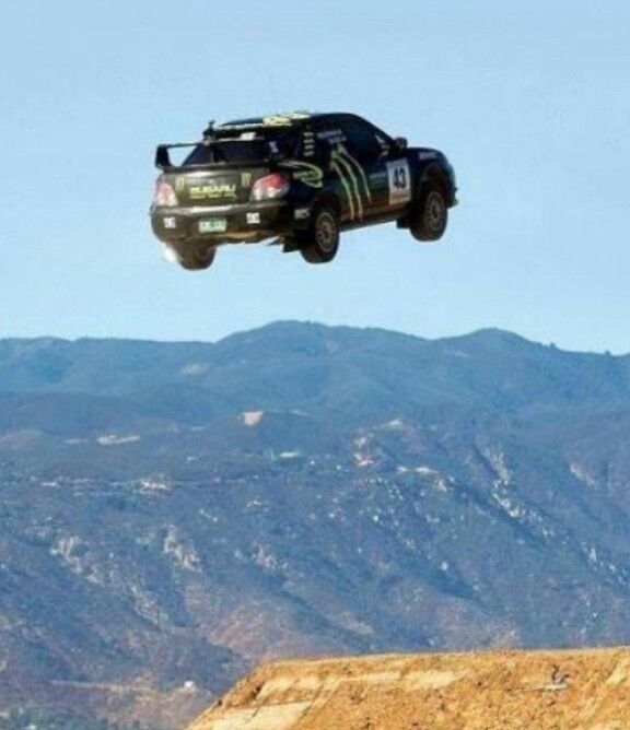 Subaru wrx rally car jumping high