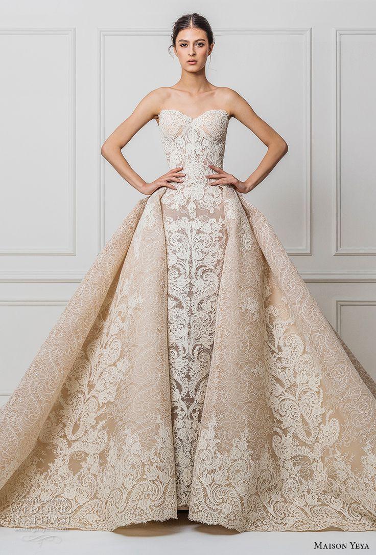 Maison Yeya 2017 bridal strapless sweetheart neckline full embellishment elegant glamorous princess ivory a  line wedding dress royal train (02) mv #bridal #wedding #lace