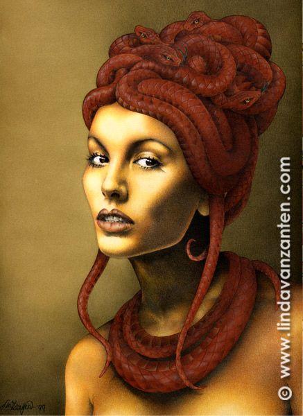 Illustration of surrealistic portrait 'Slangenmeisje' or snakegirl / Medusa See more artwork at www.lindavanzanten.com