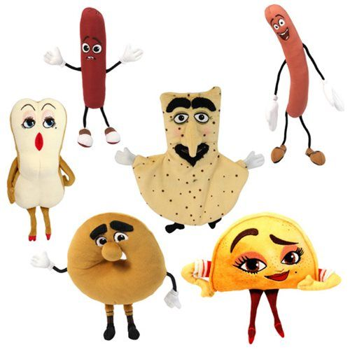 Some of your favorite characters from Seth Rogen's Sausage Party movie are now adorable plush! The plush in this case all measure between 6-inches tall and 9-inches tall, and a perfect representations of the funny characters. You could get Frank, Brenda, Taco, Barry, Vash, and Bagel!