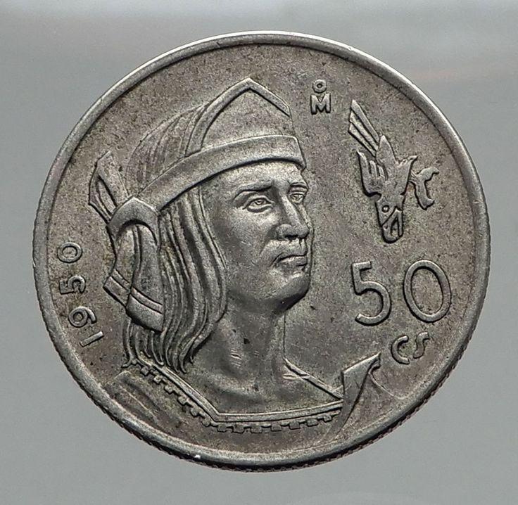 1950 Mexico Last AZTEC Emperor Cuauhtemoc Silver Mexican Coin 50 Centavos i62874