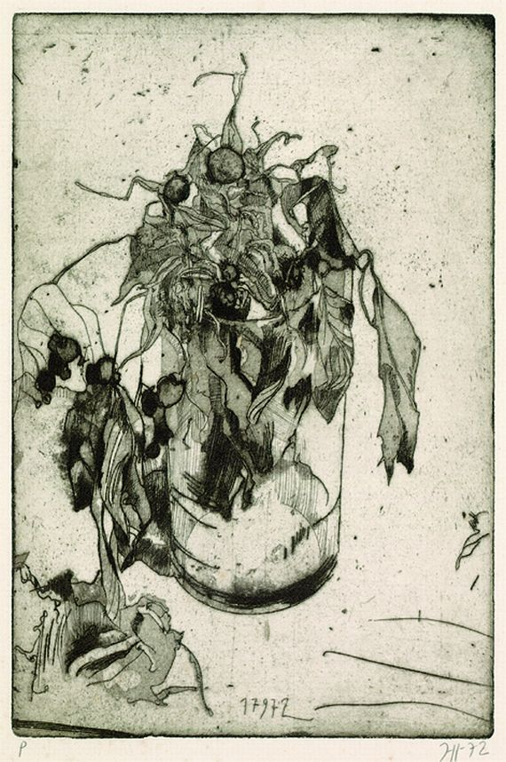 Horst Janssen, Blumen im Glas, 1972.