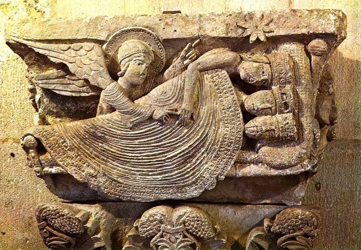 GISELEBERTUS: Decorated capital. (12th century) Angel awaking the magi, in the cathedral at Autun, France. There is no doubt that Gislebertus was the primary sculptor on St. Lazare as his distinctive personal style is seen throughout the building.