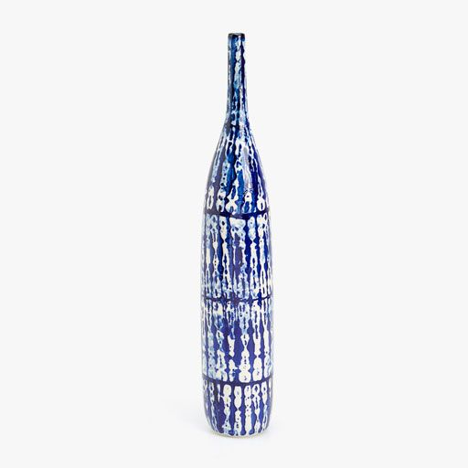 Image of the product LARGE PRINTED BLUE DECORATIVE BOTTLE