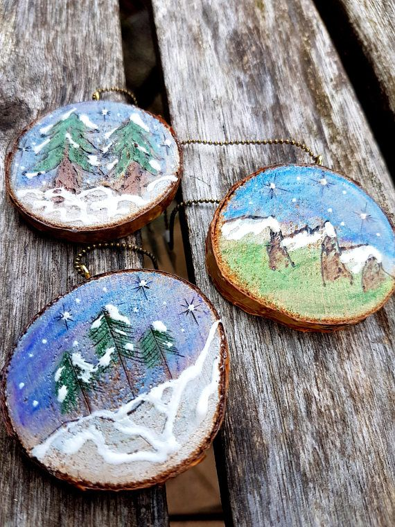 Nature themed Holiday ornamentsSet of 3 wood burned designs  handmade by JensDreamDesigns on etsy