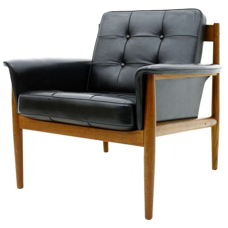 grete jalk lounge chair teak and black leather denmark 1960s