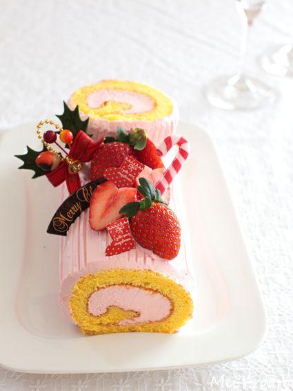 クリスマス ピンクのブッシュドノエル レシピ