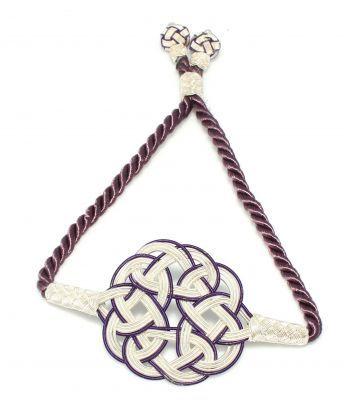 999 Ayar Gümüş Aşk Düğümü kazaziye ayarlanabilir bileklik, Mor, Beyaz