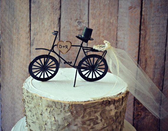 Bicycle-wedding-cake topper-sports-grooms cake-bride-groom-rustic-bicycle wedding topper-ivory veil-initials-custom-bike-biker-bike rider