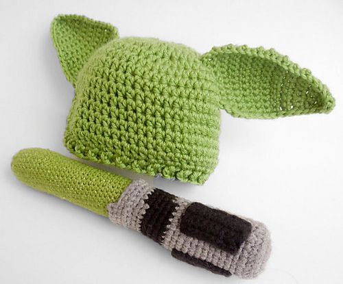 Crochet Pattern Yoda Ears : Yoda Hat and Lightsaber pattern by Annie Dee Libraries ...