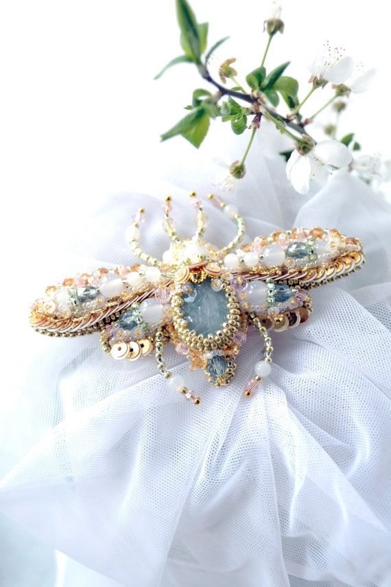 Bug brooch READY to ship Nature jewelry by BeadedNatureJewelry, €100.00