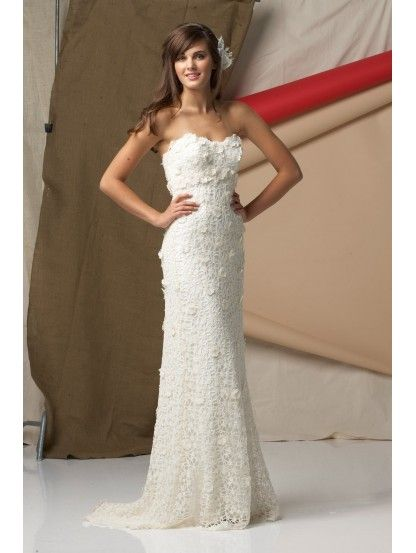 Cotton Crocheted Lace Strapless Wedding Dress