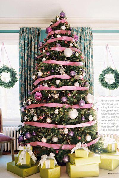 Pink ribbon-wrapped tree
