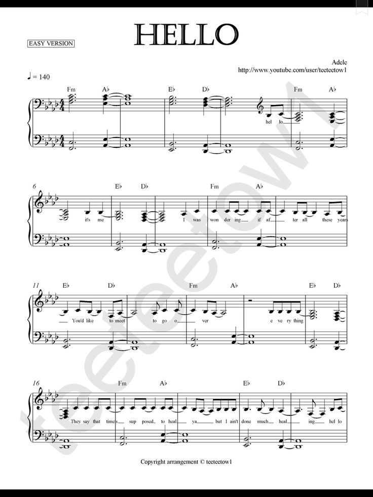 Piano Sheet Music — Hello - Adele (Piano Sheet)