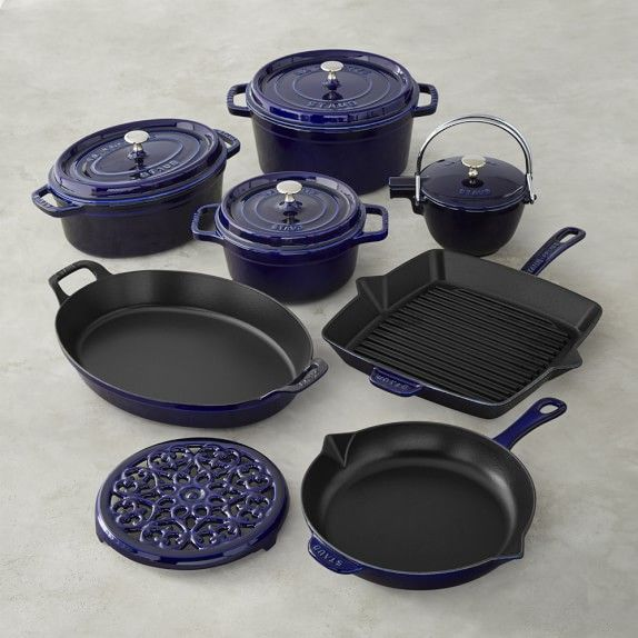 "Staub Cast-Iron 12-Piece Cookware Set in Sapphire: $1,299.95  .  10"" Fry Pan, 12"" Grill Pan, 2 3/4-Qt. Round Cocotte with lid, 7-Qt. Round Cocotte with lid, 4-Qt. Oval Gratin, 4 1/4-Qt. Oval Coq au Vin with lid, Tea Kettle (1-qt. cap.), and Trivet 8 3/4"" diam."