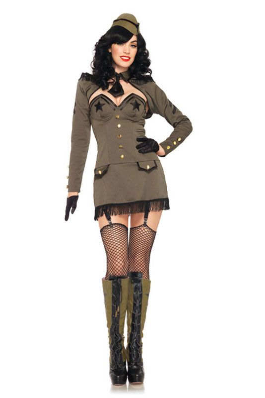 Pin Up Army Girl Adult Costume for Halloween - Pure Costumes #pinup #halloween