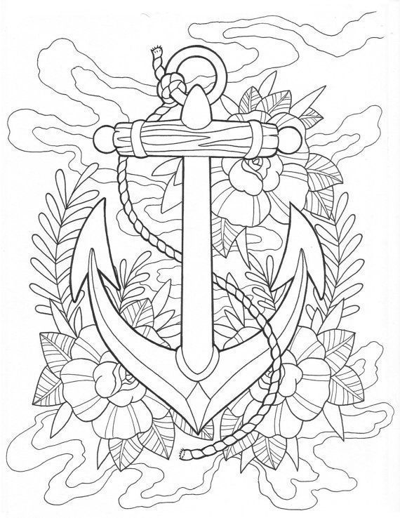 Anchor Tattoo Coloring Page Digital Download Anchor Printable