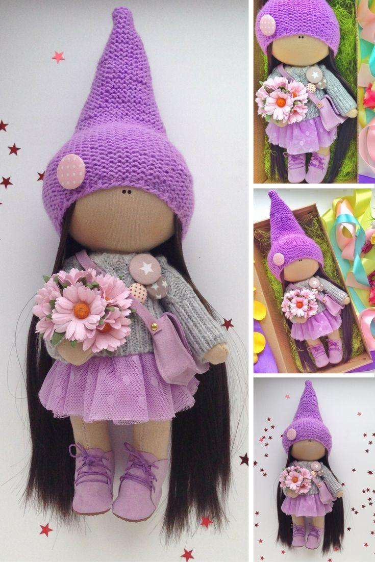 Handmade doll Tilda doll Fabric doll toy Interior doll Art doll violet colors…