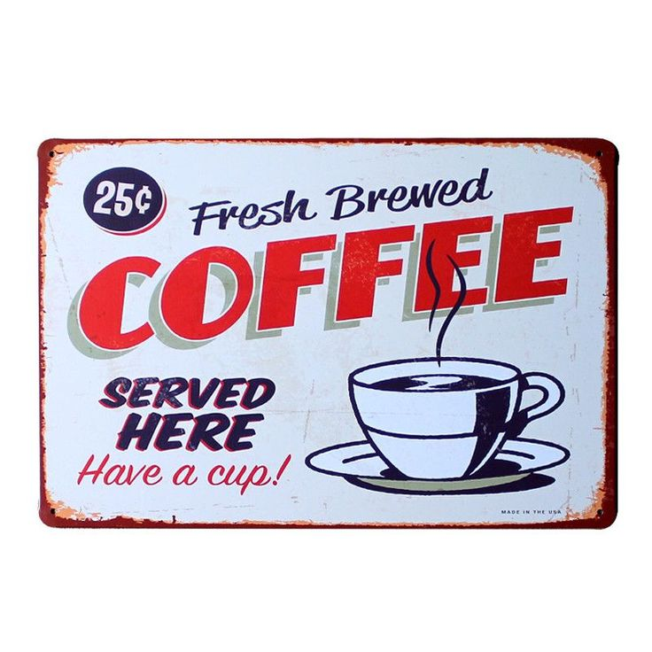 """""""Fresh Brewed Coffee"""" Retro Coffee Shop Sign� THIS AND MORE DISCOUNTS HERE: https://www.rousetheroom.com/products/fresh-brewed-coffee-vintage-sign"""