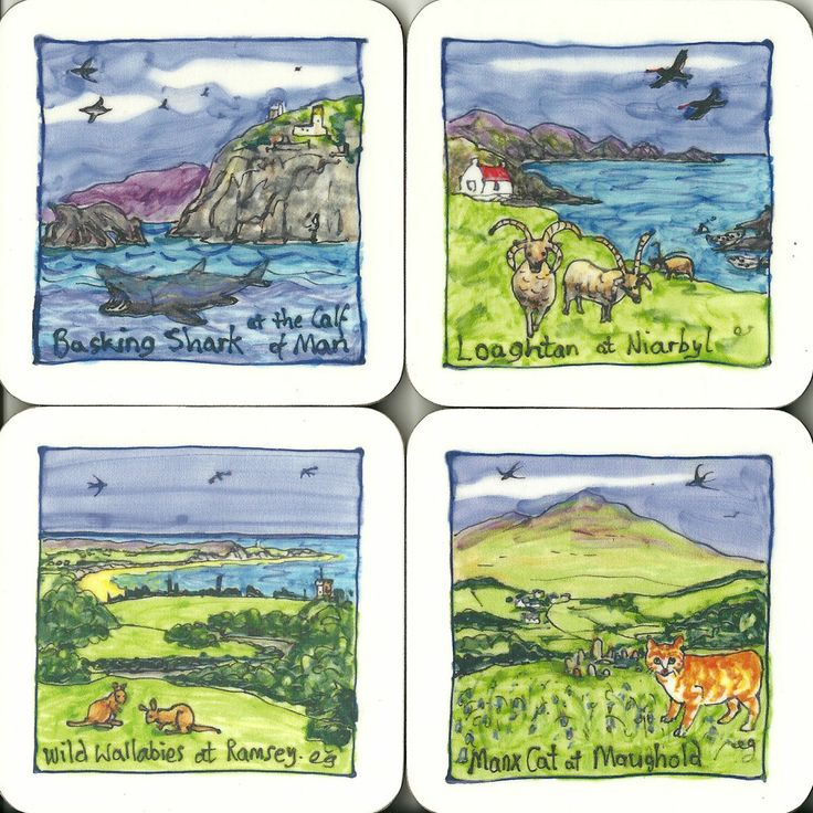 Manx scenes coasters, mugs and tablemats exclusive to Presence of Mann. Artwork by Elspeth Gardner