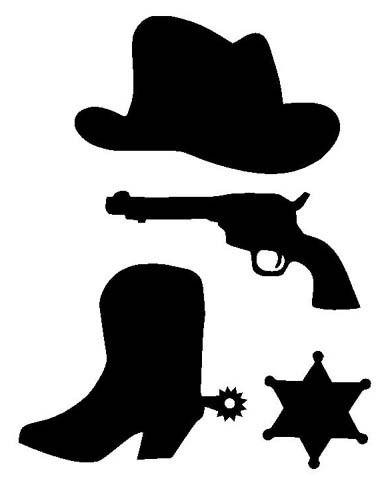 Kit cowboy en flex thermocollant couleurs au choix for Cowboy silhouette tattoo