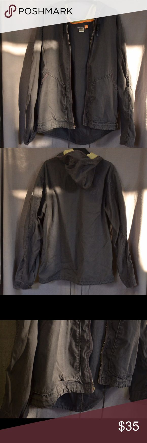 Charcoal Quicksilver Canvas Feel Coat, XL This is a perfect lightweight jacket for the coming of spring! Cute charcoal color, Quicksilver patch on left arm. The inside of the hood is tan. Women's L/XL Vintage Jackets & Coats Utility Jackets
