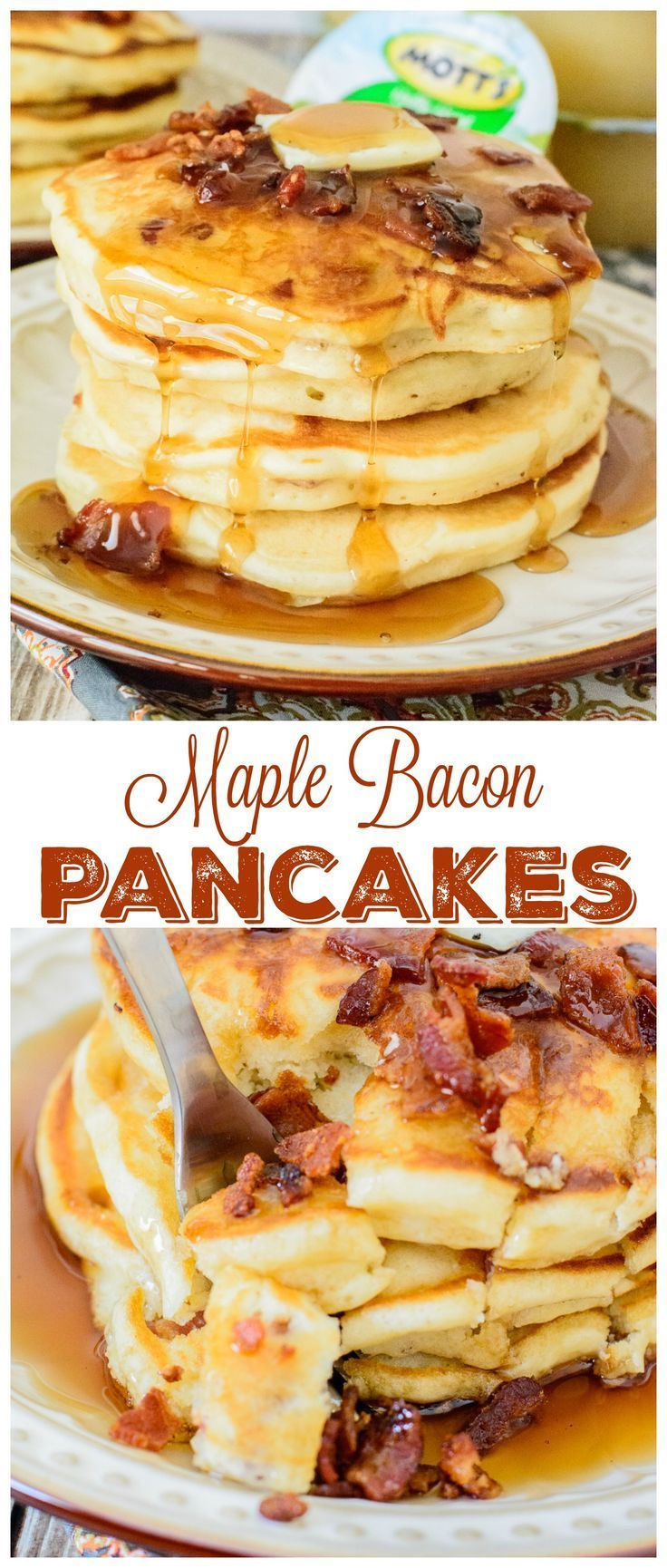 Maple Bacon Pancakes. Light and fluffy pancakes with pure maple syrup and crispy bacon. This pancake recipe is the king of all pancake recipes. You will love every bite! (Breakfast Recipes With Bacon)