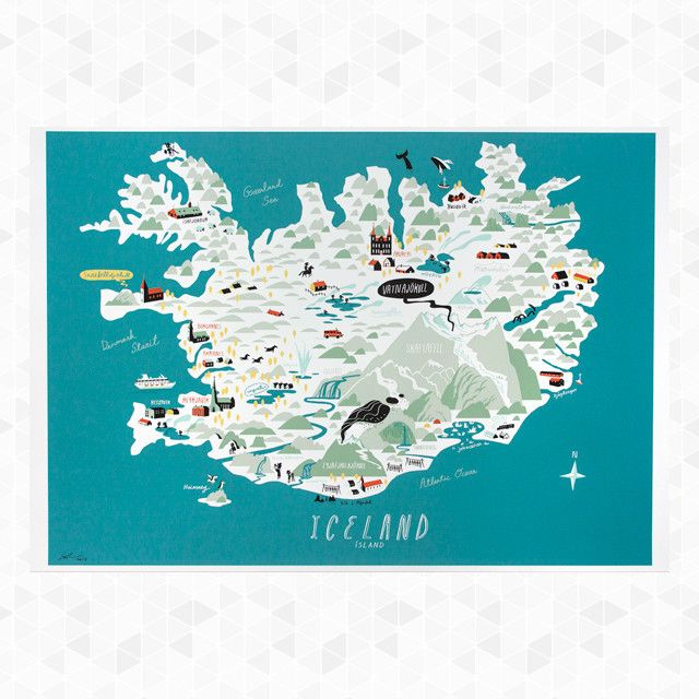 43 best maps of iceland images on pinterest cards destinations iceland map an illustrated map of iceland sights from the unique blue lagoon hot publicscrutiny Gallery