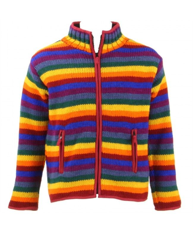 LOUDelephant Chunky Wool Knit Fleece Lined Zip Cardigan Jacket - Rainbow