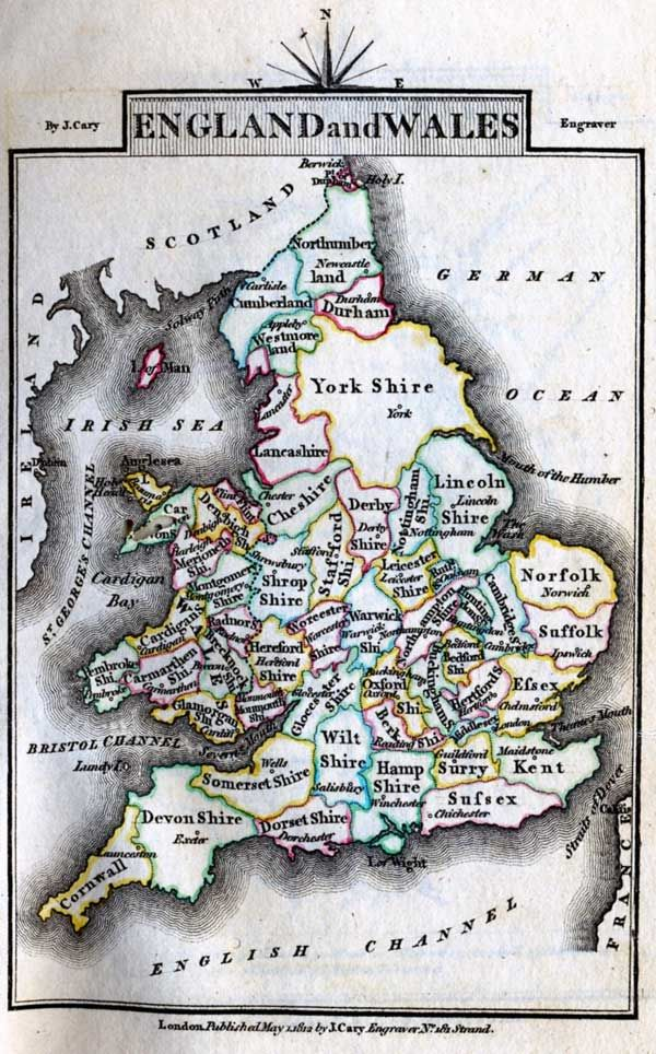 An 1812 map of the counties of England and Wales. The fact that the North Sea is called the German Ocean is also very interesting.