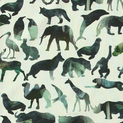 Bomull natur m mörka grafiska vilda djur - STOFF & STIL