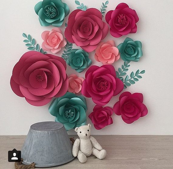 Set of 13 Large Paper Flowers - Paper Flowers -Paper flower Wall decor - Paper…