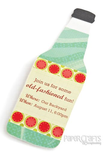 Make a paper crafted soda pop invitation using the free pattern download; Betsy Veldman for Paper Crafts Party Ensembles