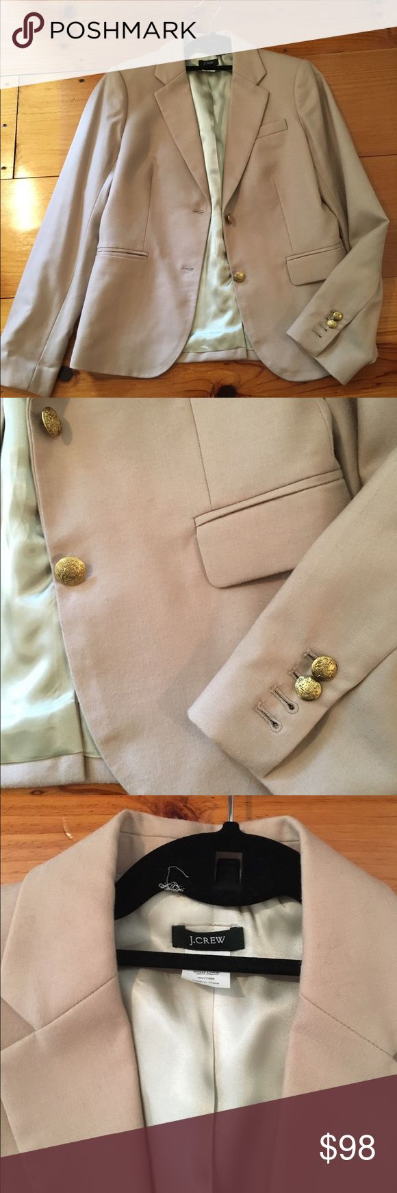J.Crew Wool Schoolboy Blazer One of a kind color in 100% Wool, iconic J.Crew silhouette and finishing touches. Two button closure and functional buttons at on sleeves. Color is a tawny beige with light pink undertone. Excellent condition! J. Crew Jackets & Coats Blazers