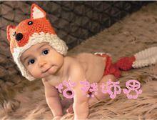 아기 신생아 핸드 메이드 뜨개질 동물 여우 유아 크로 셰 뜨개질 모자 아이들 코스프레 의상 사진 버팀대를 의류 세트(China (Mainland))