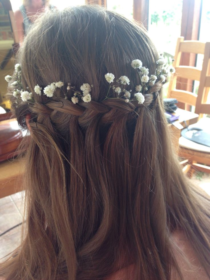 Bridesmaid hair with waterfall plait and gypsophila