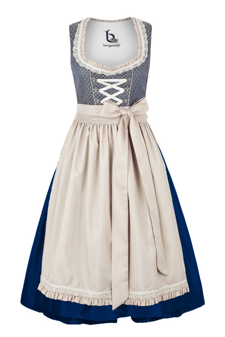 Midi Dirndl with cute ornaments Bergweiss from 99,95 at Bavaria Lederhosen shop now ♥ fast shipping ♥ large selection ♥ great brands