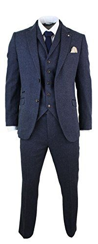 Mens 3 Piece Suit Herringbone Tweed Wool Blend Suit Complete With Blazer, Waistcoat & Trouser Retro Effect Tweed Fabric With Velvet Detailing
