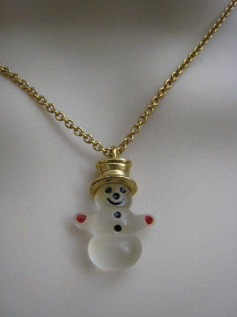 Vintage Avon Frosty Snowman Necklace Top Hat by volovintagejewelry, $18.00