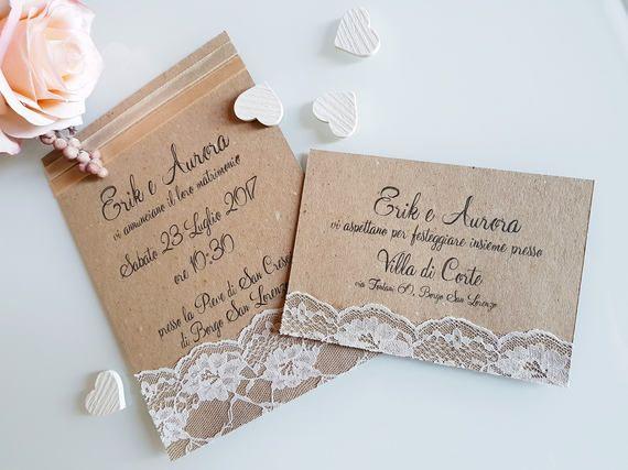 Invito Partecipazioni Personalizzato Matrimonio Carta Kraft E Pizzo Invito Rustico Counytry Shabby Chic Vintage Wedding Invitations Rustic Country Wedding Invitations Rustic Rustic Country Wedding