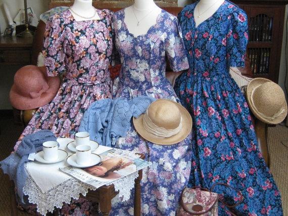 LAURA ASHLEY Vintage Amethyst Rose Garden Summer / Tea Dress, UK 10