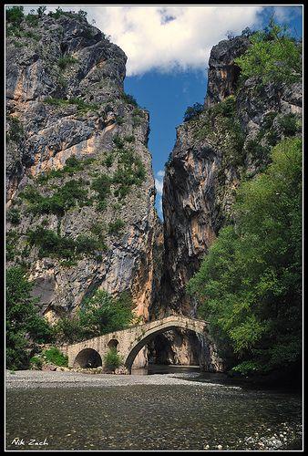 Old stone bridge at Portitsa Canyon, Grevena, Greece