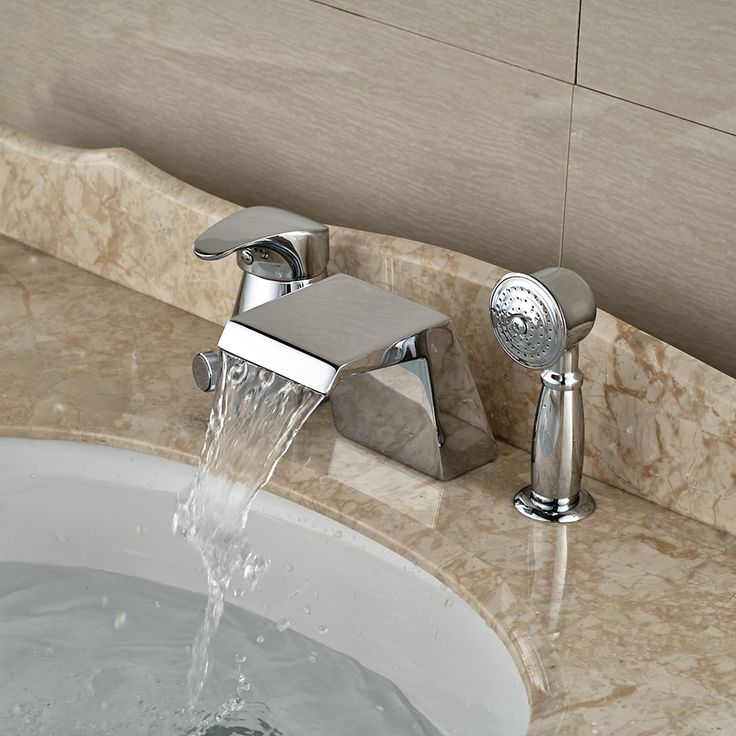 79.65$  Watch now - http://alivno.worldwells.pw/go.php?t=32457660444 - Wholesale And Retail Promotion Deck Mounted Chrome Brass Waterfall Spout Bathroom Tub Faucet W/ Hand Sprayer