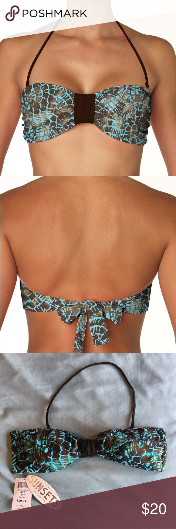 NWT Sunsets Bandeau Top Gorgeous bandeau top from Sunsets Inc in Tiger Reef pattern! Brand new, never worn with tags still attached! Colors are turquoise and brown and size is large! I have added some stock photos and a sizing chart! :) Sunsets Swim Bikinis
