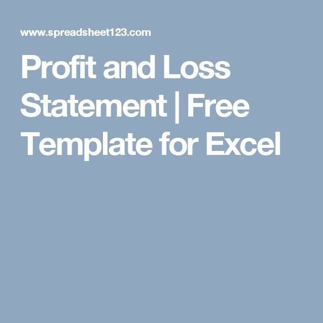 Profit and Loss Statement | Free Template for Excel