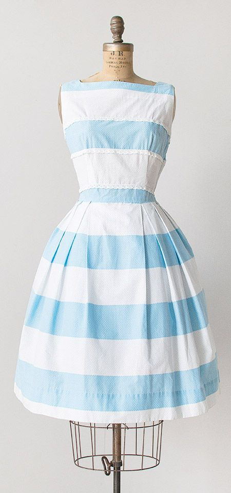Constructed stripes. vintage 1950s dress | Adored Vintage | #vintage #adoredvintage #1950s